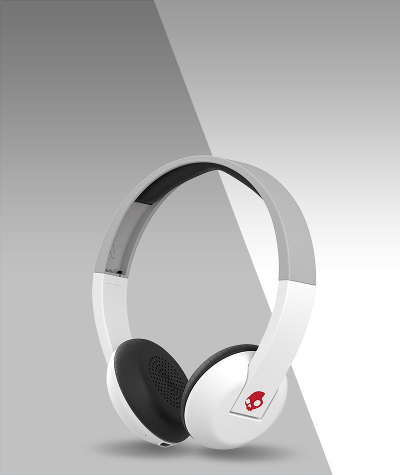 SkullCandy Uprock Headphones On Over Ear Athletic Red Grey Phone Headset Sports